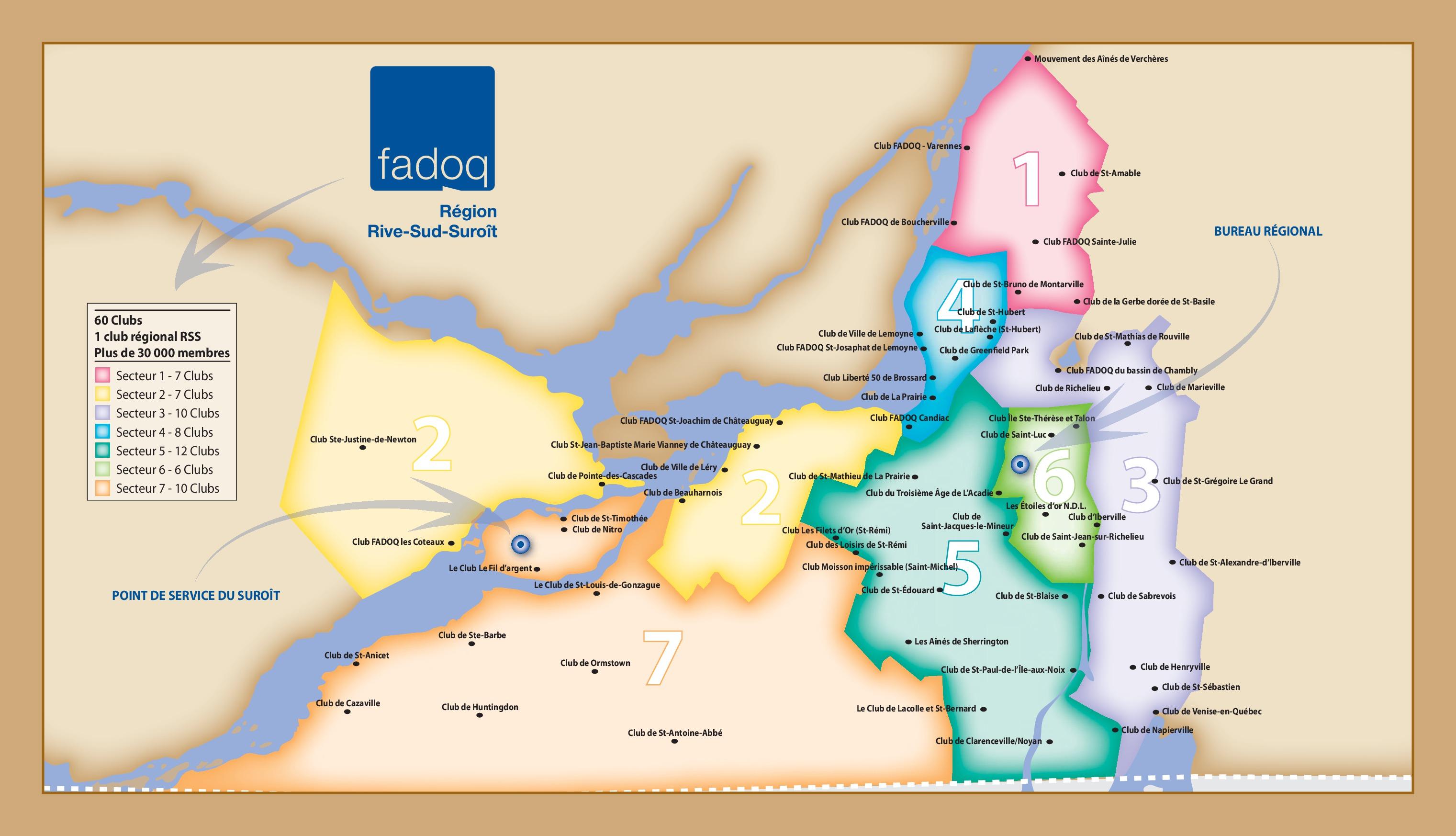 Carte des clubs de la Région Rive-Sud-Suroît