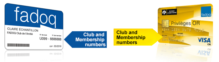 FADOQ Card With Club and membership numbers