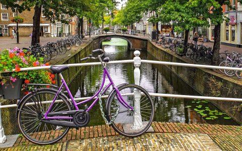En vélo et en bateau, vous traversez différents paysages de Bruges en Belgique, ju...