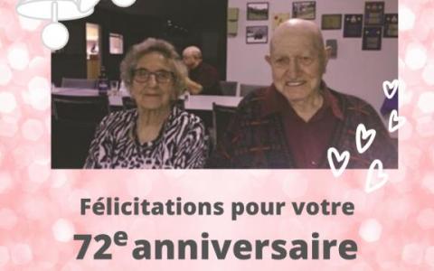 Félécitations pour votre 72e anniversaire de mariage