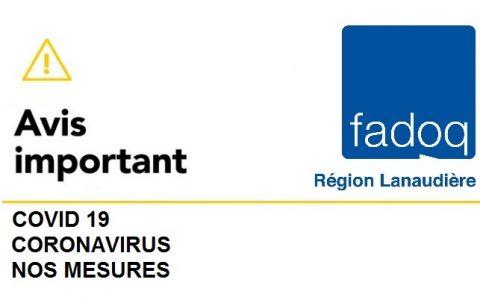 Recommandations de FADOQ – Région Lanaudière : Suspension des activités et événements