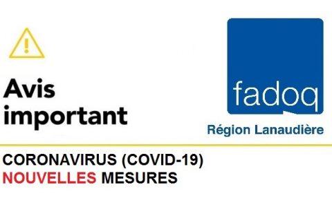 COVID-19 : Nouvelles mesures de FADOQ - Région Lanaudière