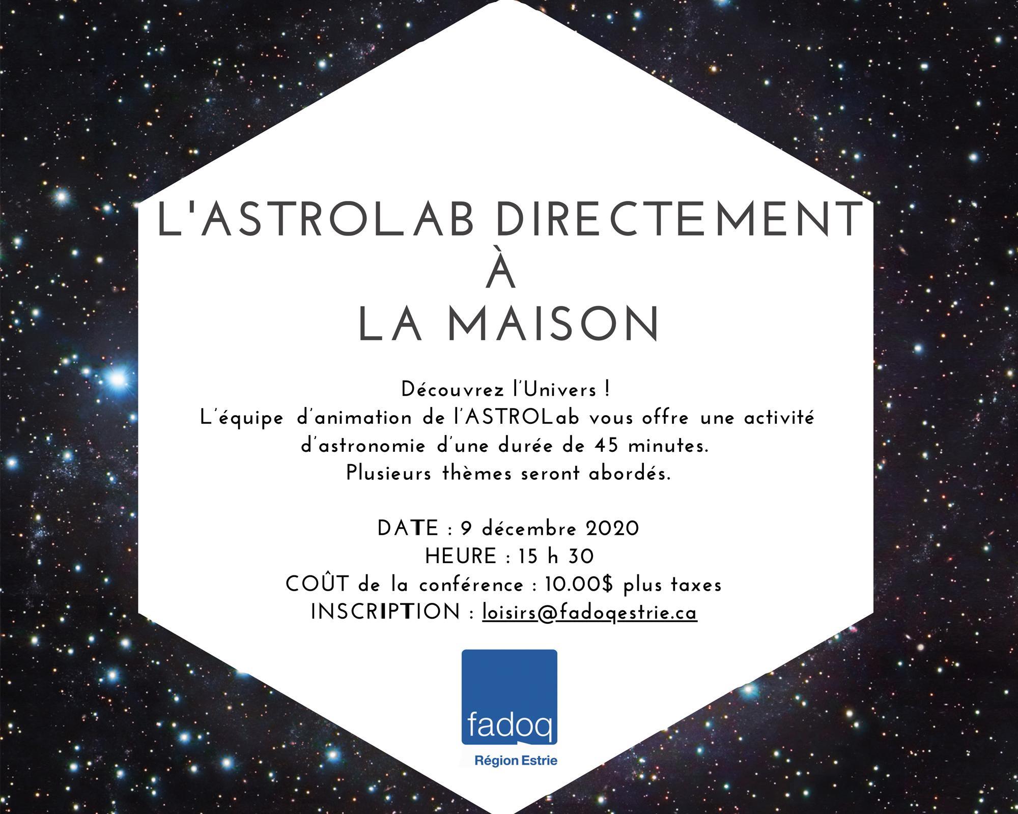 Conférence virtuelle de l'Astrolab