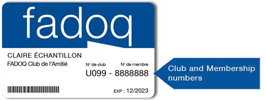 Cartes FADOQ avec no club-membre anglais