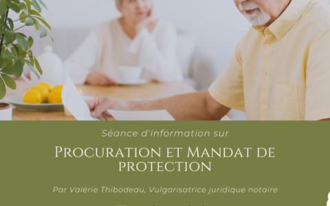 Séance d'information - Procuration et Mandat de protection