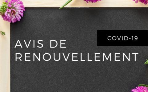 Avis de renouvellement - Laurentides (Covid-19)