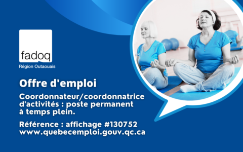 Offre d'emploi à la FADOQ - Région Outaouais